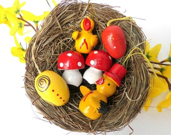11 Flocked Erzgebirge Easter eggs table decor Vintage hanging ornaments hollow chicken chick red yellow with rooster bunny ribbon decor