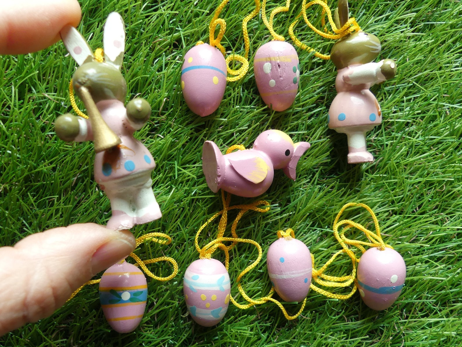 All Pink Wood Easter Ornaments 9 Pink Painted Easter Eggs Bunny