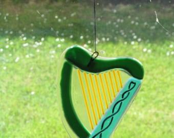 Irish Harp Fused Glass