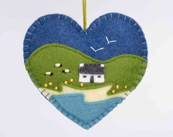 Irish cottage felt heart ornament