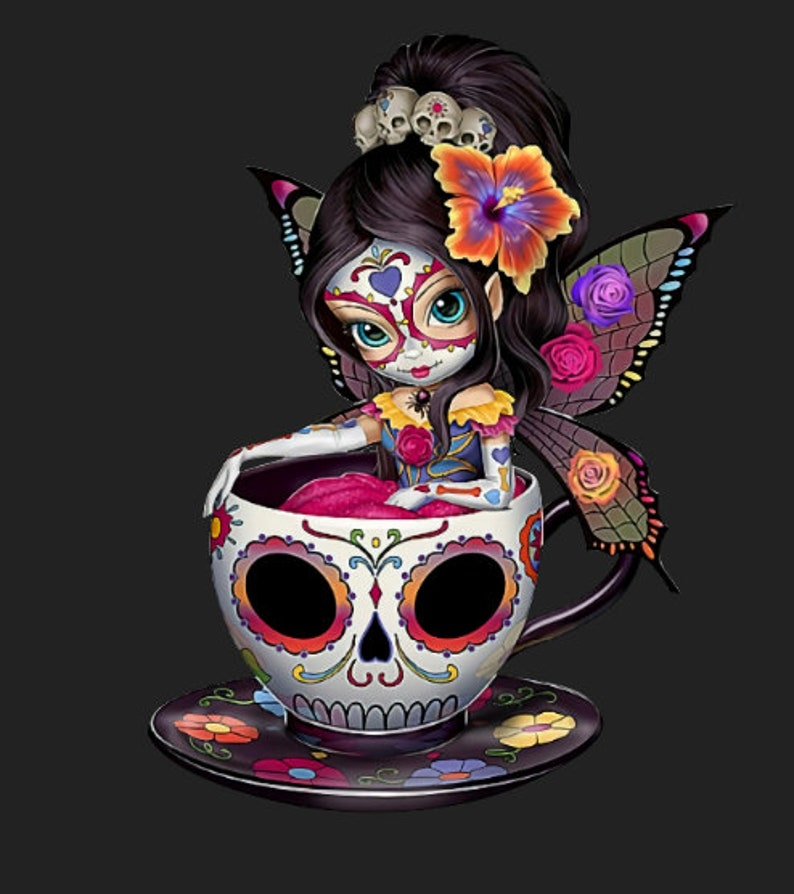 Sugar Skull Fairy PNG File Digital Download T-Shirt image 0