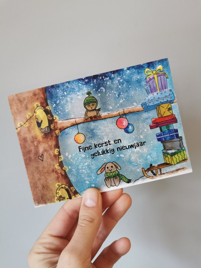 Christmas & New Year's Eve ticket owl and rabbit image 0