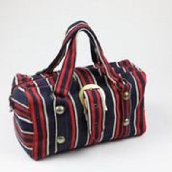Vintage 60s stripe denim handle bag