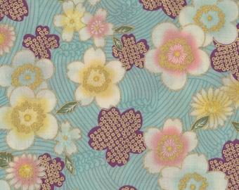 Crane /& Flowers Black Japan Fabric Cotton Fabric Cotton 50cm x 110cm AC3023a 19.00 EurMeter Fabric Suitable for Face Mask