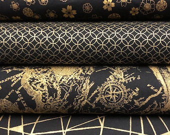 4 Fat Quarter Set Fabric Pack Traditional Japanese Fabrics Seigaiha Asanoha Sakura Dragonfly Blue Fabric Cotton Fabric 4x 50cmx50cm