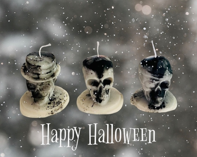 Featured listing image: Soy skull candles-Halloween bonfire fragrance black and white-party-celebration-home fragrance-organic-vegan-autumn -gifts