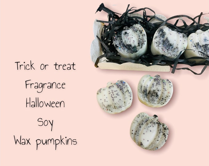 Featured listing image: Soy wax melts-Halloween Trick or treat pumkins-party-celebration-home fragrance-organic-vegan-autumn-pk of 4 gift boxed-gifts-wellbeing