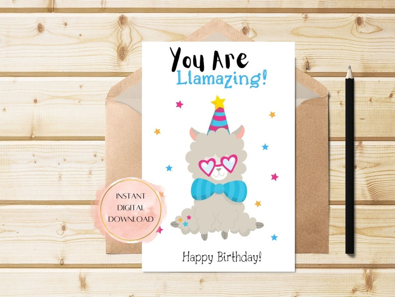 Llamazing cute birthday card digital birthday card.
