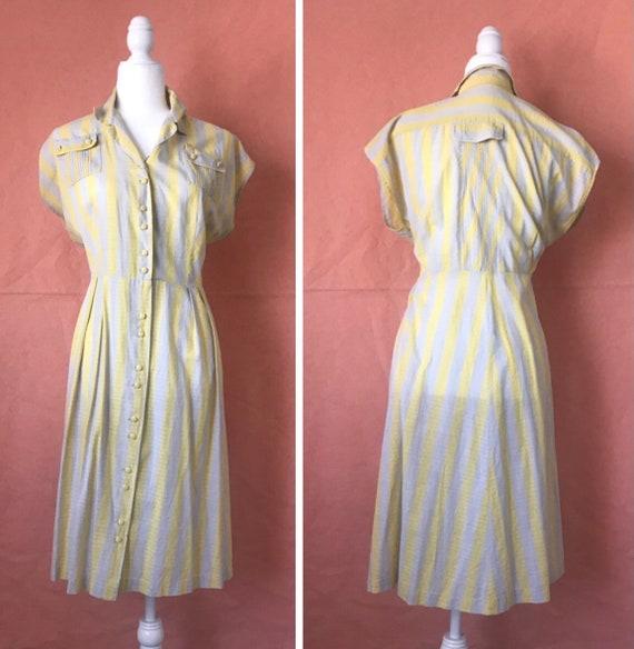 XL 1940s Yellow Gray Striped Cotton Dress
