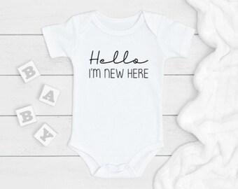 Baby Onesie\u00ae New Baby Hello I\u2019m New Here Baby Onesie\u00ae Baby Announcement