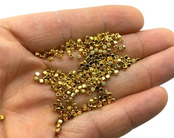 2mm Connector Beads Gold Plated Supplies Cube Beads Curved Square Beads jewellry Beads Shiny Gold Beads Square Beads Spacer Beads