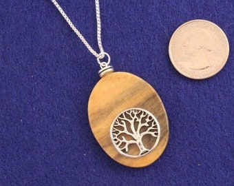 Tree of Life Wood Pendant, Wooden Pendant, Wooden Necklace, Driftwood Necklace , JK339