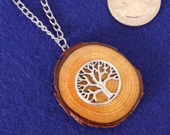 Wood Jewelry, Wood Pendant, Wood Necklace, Wooden Pendant, Wooden Necklace, Driftwood Necklace , Tree of Life , JK345