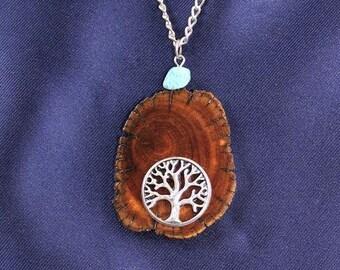 Unique Handmade Wood Jewelry, Wood Pendant, Tree of Life Necklace, Wooden Pendant, Wooden Necklace, Driftwood Necklace , JK317