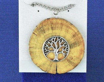 Wood Jewelry, Wood Pendant, Wood Necklace, Wooden Pendant, Wooden Necklace, Driftwood Necklace , Tree of Life Necklace, JK351