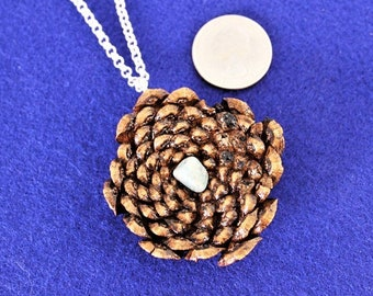 Wood Jewelry, Wood Pendant, Wood Necklace, Wooden Pendant, Wooden Necklace, Driftwood Necklace ,Pine cone, JK160