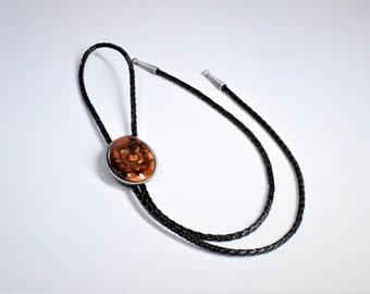 BR62 Live edge Wood Bolo Tie with gunmetal black frame, String Tie ,