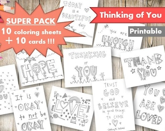 Thinking of You Coloring Pages and Cards, Printable, Adult and Kid Coloring Sheets, Thank You Card, We Love You, Digital, Download