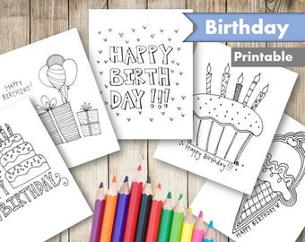 Birthday Coloring Etsy