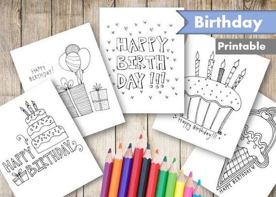 Happy Birthday Coloring Pages Printable Adult and Kid