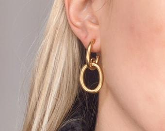 Gold link hoop earrings. Dangle drop earrings. Stainless steel