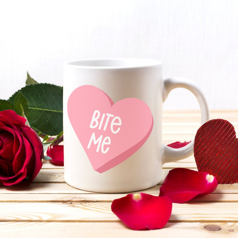Bite Me Coffee Cup  Valentines Day Mug Valentines Day Gift