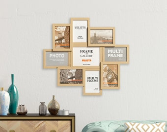 Set of 9 Rustic Oak Multi Photo Frame - Wooden Collage Square Picture Frames | Perfect Gift Choice for Weddings, Birthdays & Anniversary