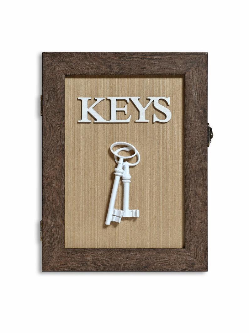 Wooden Key Box Key Box for Wall \u2013 Rustic Key Box Key Box Storage Key Sorter Vintage Key Box Brown and Beige Key Box Key Holder