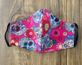Sugar Skull Handmade Cotton Two-Layer Face Mask - Washable Reusable