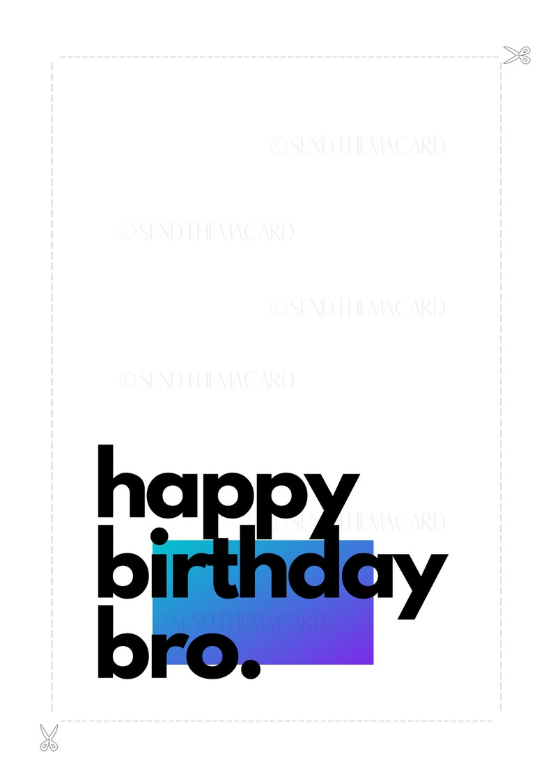 Card for Them Digital Download | Instant Download Happy Birthday Card Printable Greeting Card Happy Birthday Bro Printable Card