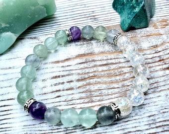 Genuine Fluorite, Amethyst and Crackle Quartz Bracelet