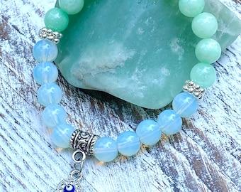 Opalite Moonstone and Green Angelite Jade Hamsa Hand Bracelet