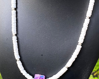 White Shell Choker Necklace with Genuine Amethyst