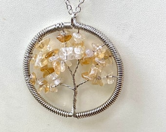 Natural Citrine Tree of Life Wire Wrapped Pendant On Sterling Silver  Plated Cable Chain Necklace