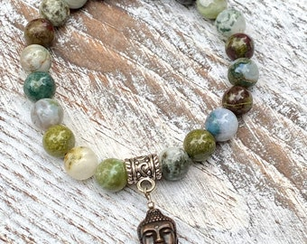Genuine Dragons Blood, Tree Agate and Moss Agate with Copper Buddha Head Bracelet