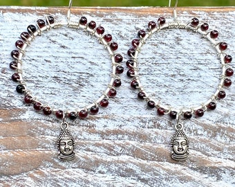 Silver Buddha Hoop earrings with Wire Wrapped Garnet Beads