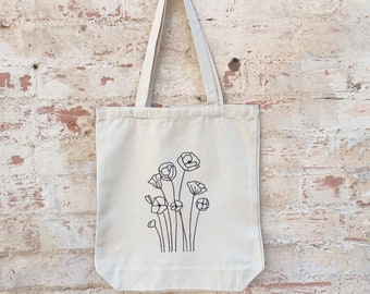 Block Printed tote bag  wildflowers  large grocery size  one of a kind  ready to ship