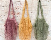 Hand Dyed French Market Bag, Reusable Grocery Bag Crochet bag, Cotton Mesh Tote, Farmers Market Bag, Net Bag, Zero Waste Living