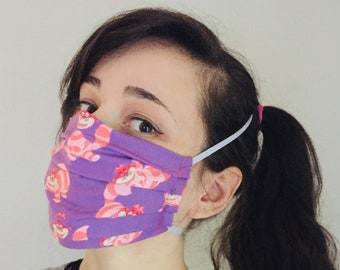 Disney's Cheshire Cat 100% Cotton surgical face mask w/reusable filter pocket FAST SHIPPING! Ships First class, arrives within a week