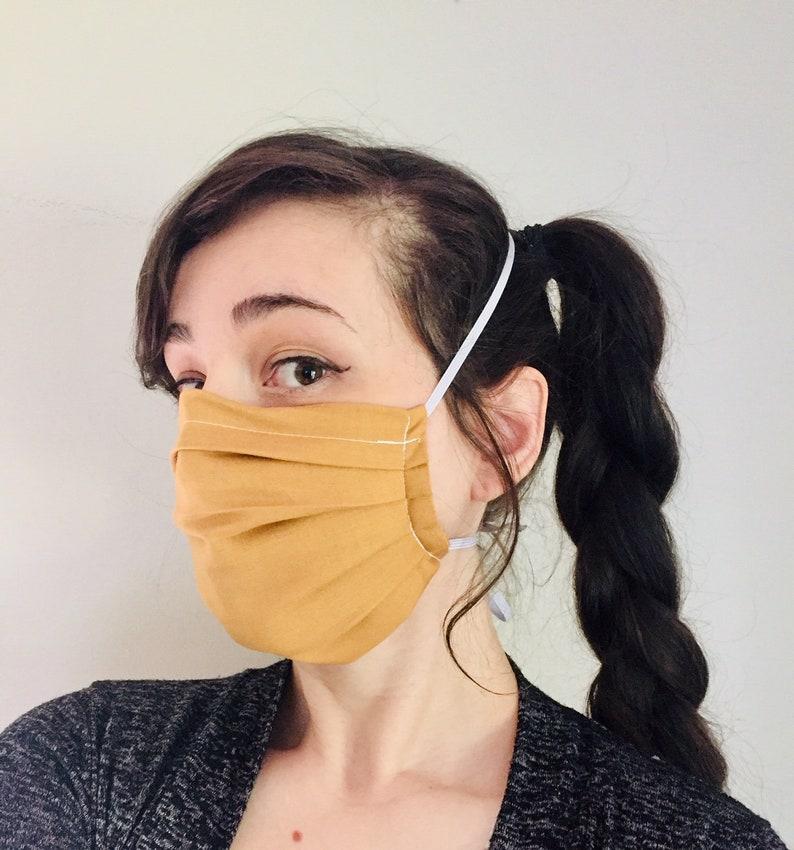 Solid Burnt Orange 100% Cotton surgical face mask w/ reusable image 0