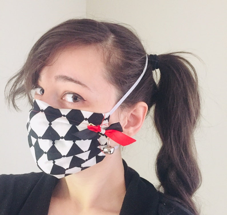 Harley Quinn inspired 100% Cotton surgical face mask sewn in image 0