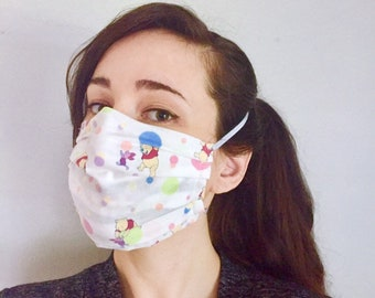 Winnie the Pooh Piglet 100% Cotton surgical face mask w/reusable filter pocket FAST SHIPPING! Ships First class, arrives within a week
