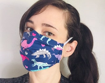 Dinosaurs love 100% Cotton surgical face mask sewn in reusable filter pocket FAST SHIPPING! Shipped First class and arrive within a week