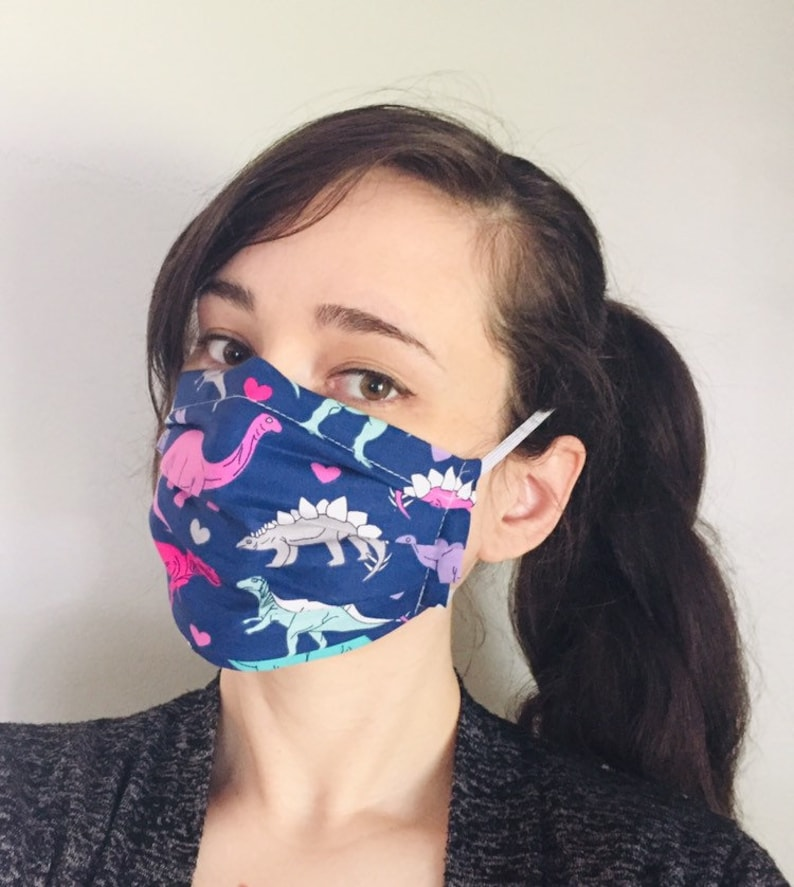 Dinosaurs love 100% Cotton surgical face mask sewn in reusable image 0