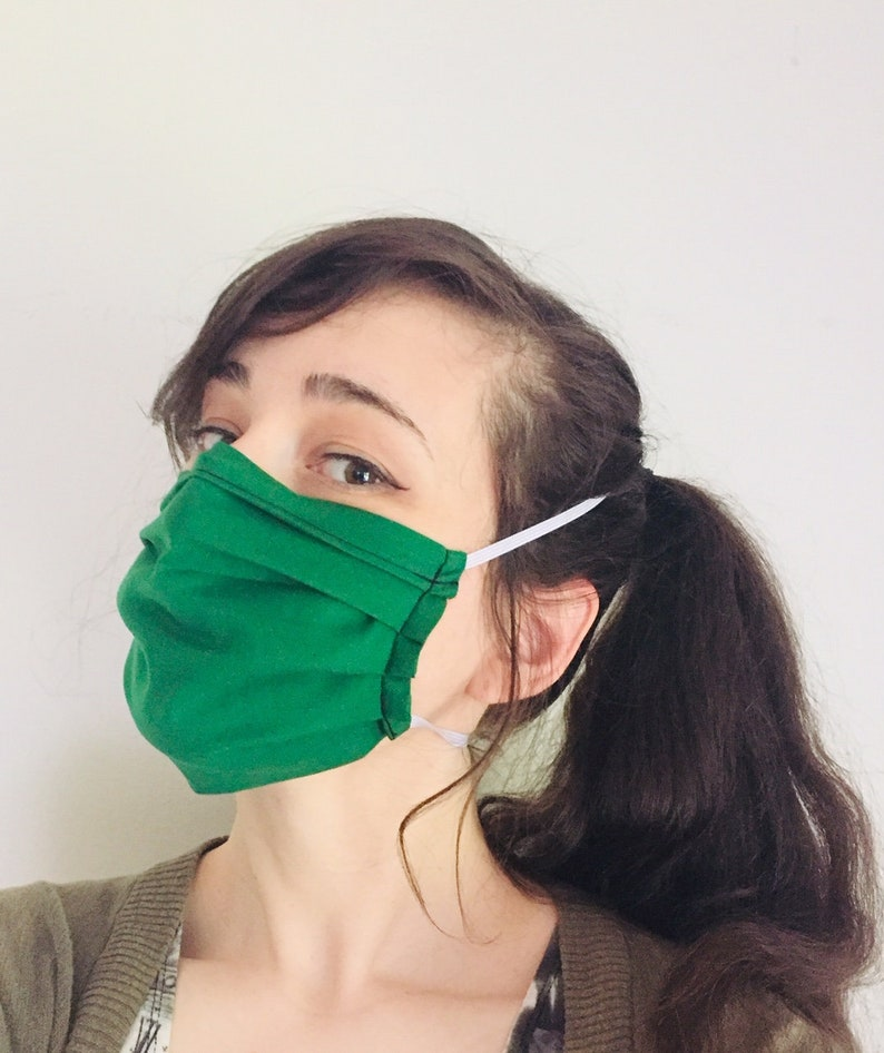 Solid Dark Green 100% Cotton surgical face mask w/ reusable image 0