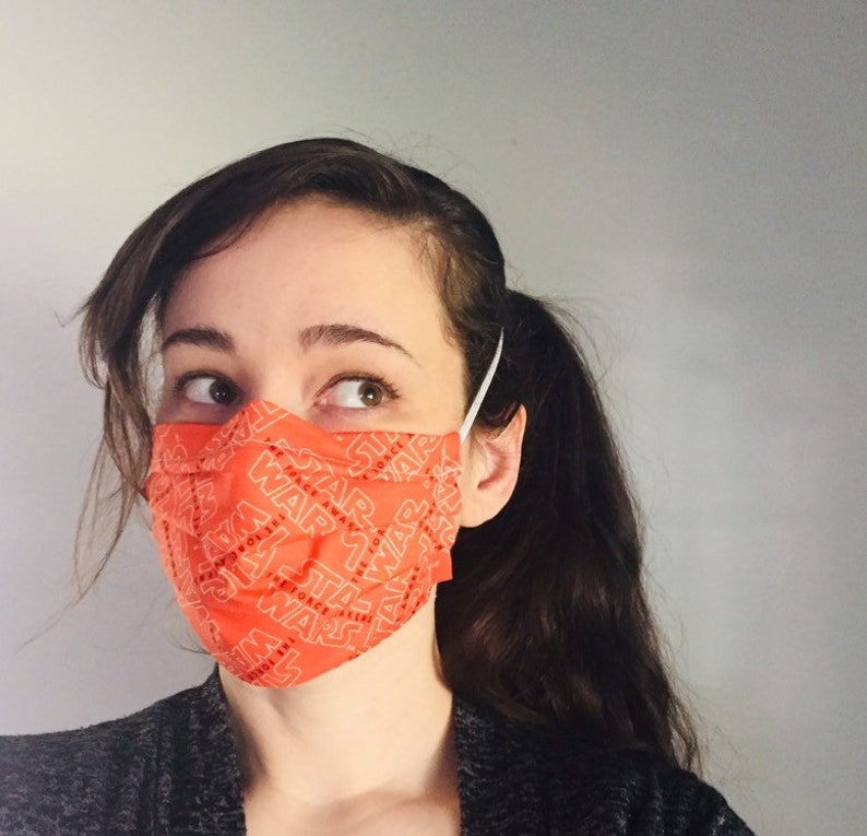 Star Wars Orange 100% Cotton surgical face mask sewn in image 0