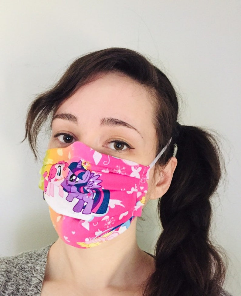 My Little Pony 100% Cotton surgical face mask sewn in reusable image 0