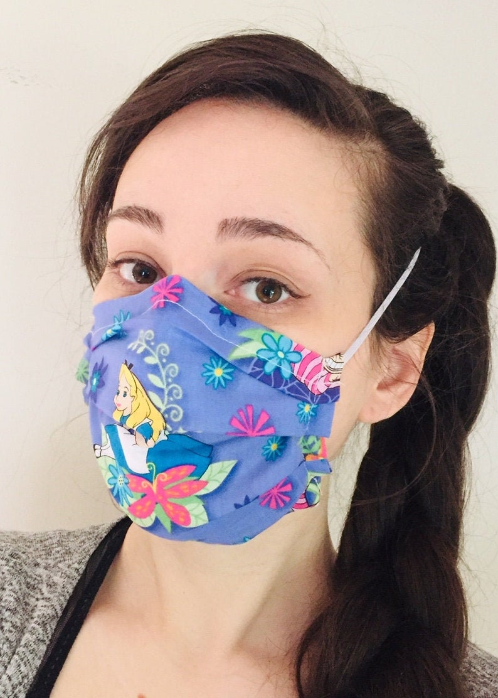 Disney's Alice in Wonderland 100% Cotton surgical face image 1