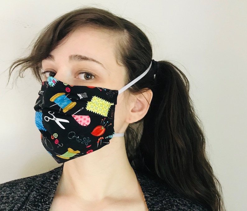Crafting love 100% Cotton surgical face mask sewn in reusable image 0