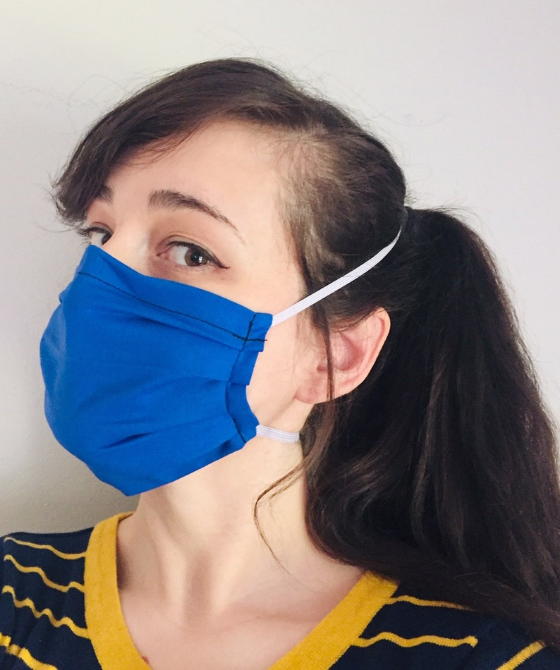 Solid Dark Blue 100% Cotton surgical face mask w/ reusable image 0